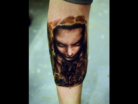 Laky  Laky Tattos  Horror  Realistic  Riga  Latvia  Color Lower Leg