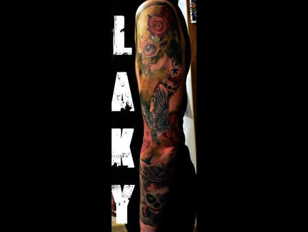Sleeve  Laky  Laky Tattos  Horror  Realistic  Riga  Latvia  Color Arm