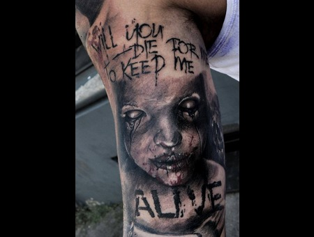 Laky  Laky Tattos  Horror  Realistic  Riga  Latvia  Black Grey Arm
