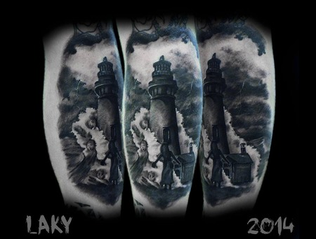 Laky  Laky Tattos  Horror  Realistic  Riga  Latvia  Black Grey Lower Leg