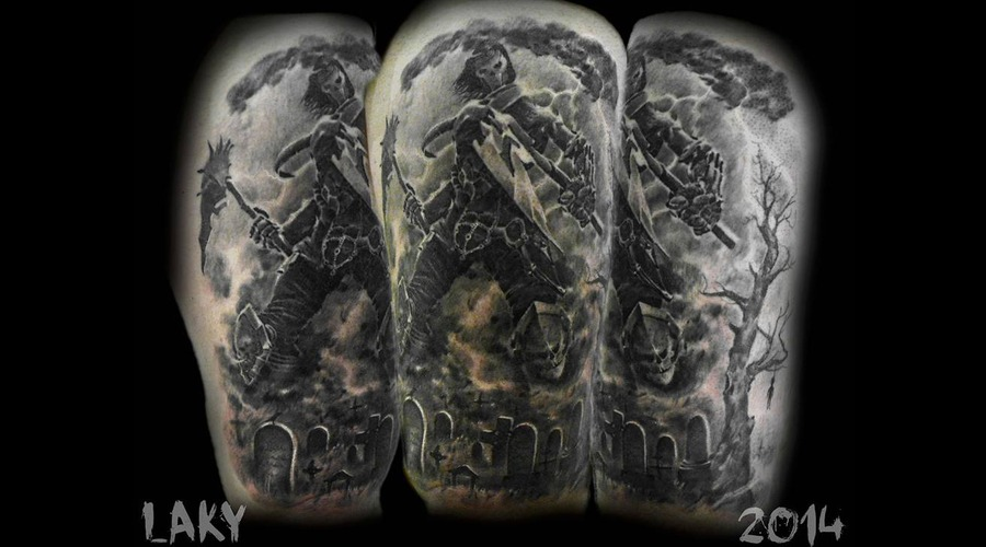 Laky  Laky Tattos  Horror  Realistic  Riga  Latvia  Black Grey Hip
