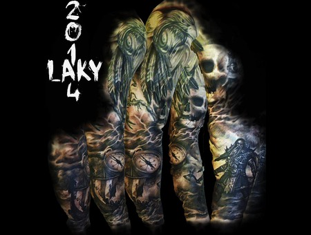 Sleeve  Laky  Laky Tattos  Horror  Realistic  Riga  Latvia  Black Grey Arm