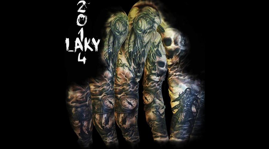 Sleeve  Laky  Laky Tattos  Horror  Realistic  Riga  Latvia  Black Grey Arm
