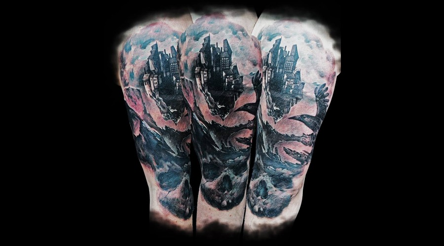 Laky  Laky Tattos  Horror  Realistic  Riga  Latvia  Color Shoulder