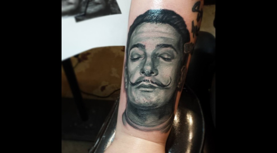Salvador Dali   Portrait Tattoo  Realism Tattoo  Color Tattoo Color Forearm
