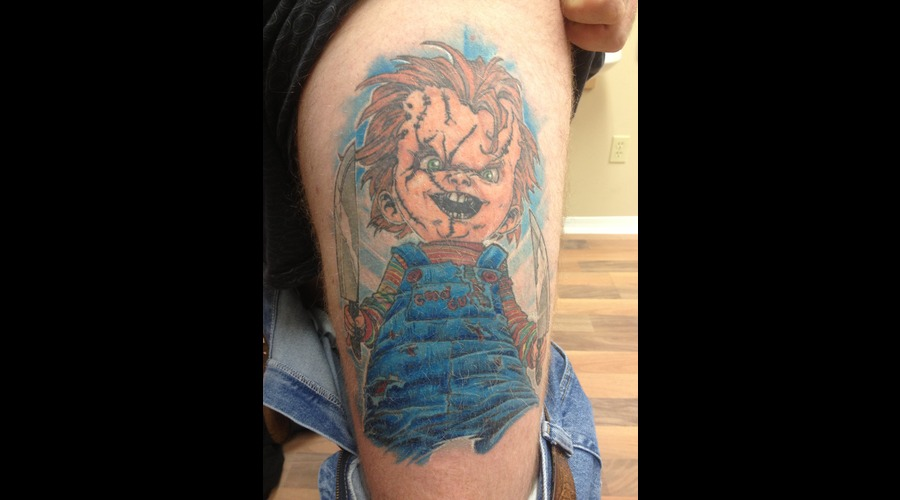 Chucky Evil Doll  Portrait Color Thigh