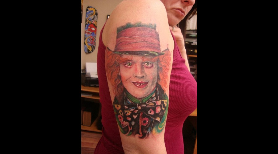 Start Of Alice In Wonderland Sleeve... In Progress. Mad Hatter First Pass.  Color Arm