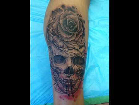 Jay French Original Artwork. Skull  Rose  Blood.  Black Grey Lower Leg