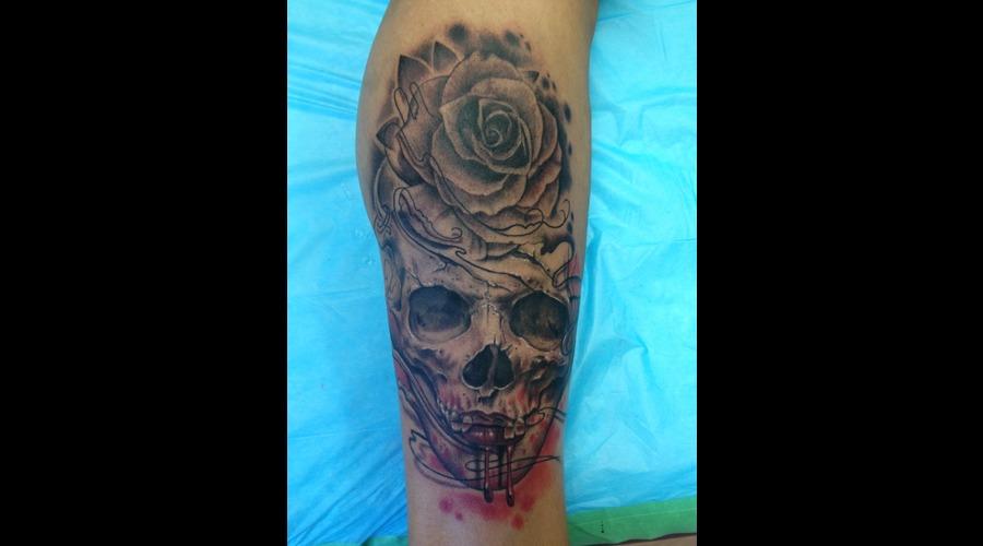 Jay French Original Artwork. Skull  Rose  Blood.  Black Grey Lower Leg