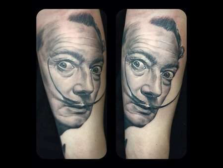 Black And Grey  Portrait  Dali Black Grey Forearm