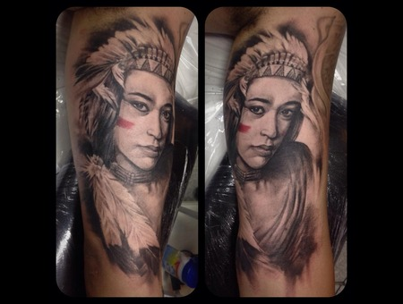 Indian American Girl Black Grey Arm