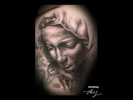 Le Pieta  Michelangelo  Religious Black Grey Arm