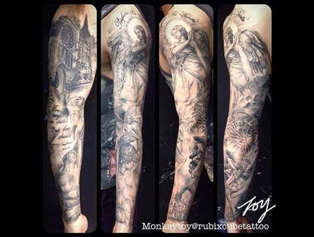 Religious Sleeve Black Grey Arm
