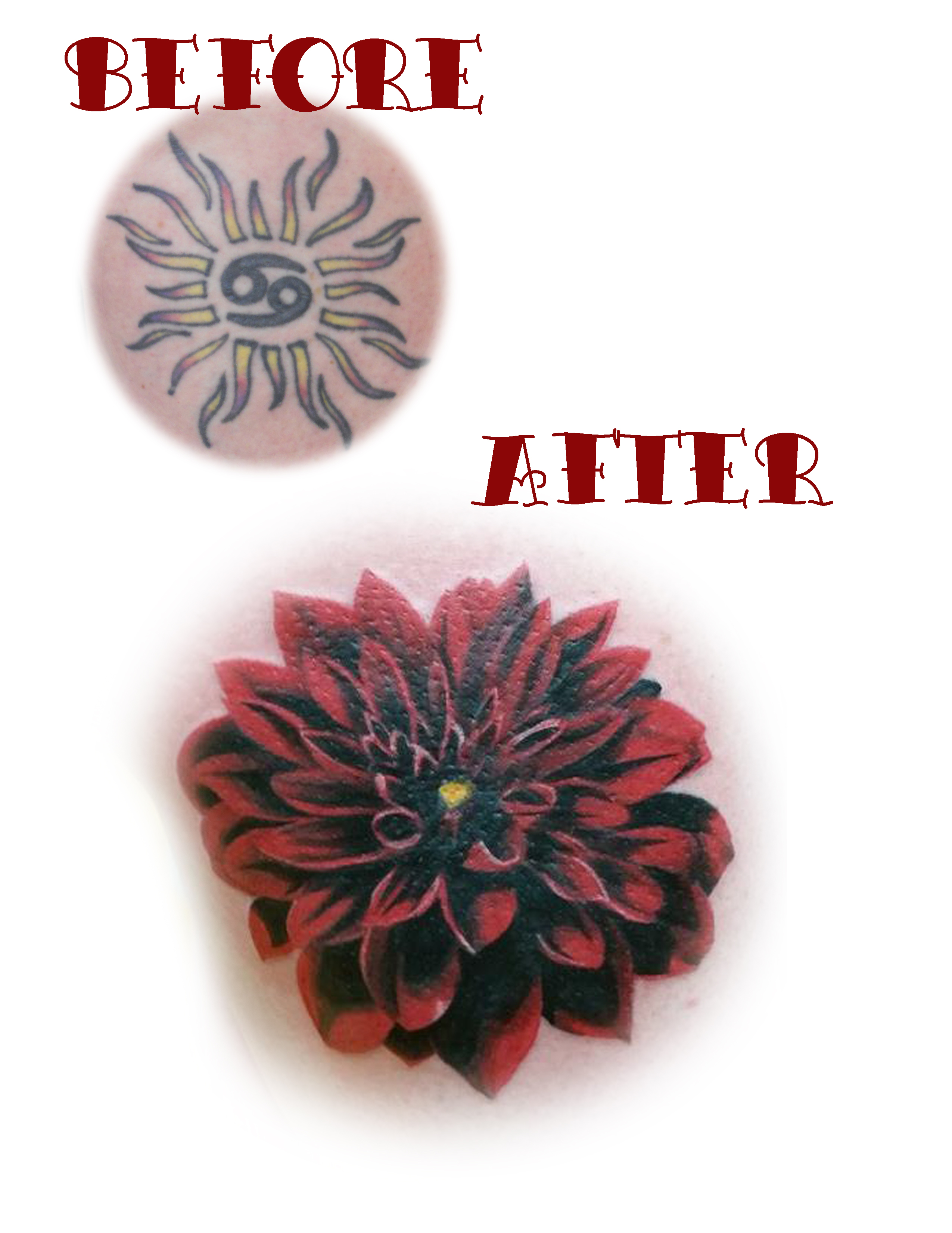 Browse worlds largest tattoo image gallery trueartists flower dahlia realism cover up color thigh izmirmasajfo