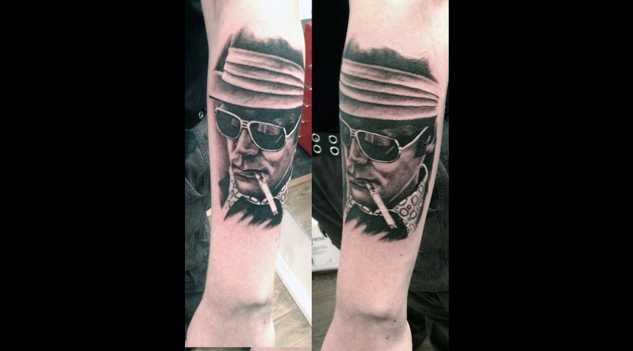 Thompson  Hunter  Semirealistic  Black Grey Forearm