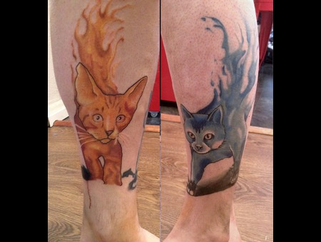 Coverup In Progress  Still Green Cat To Go  Used Idea With My Design. Color Lower Leg