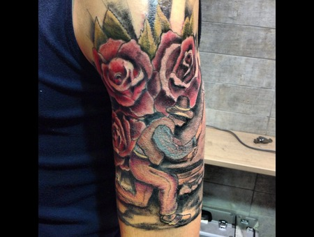 Color   Art   Paintings  Free Hand   Roses  Color Arm