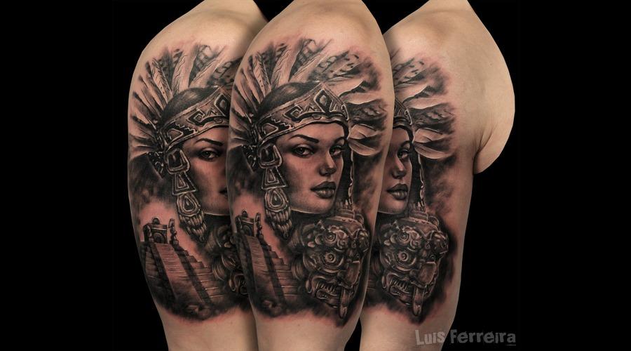 #Aztectattoo  Black Grey Arm