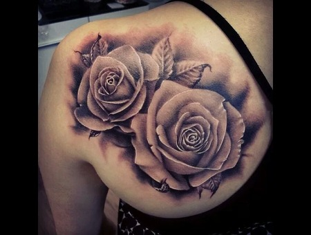 Roses  Black And Grey  Realistic Black Grey Shoulder