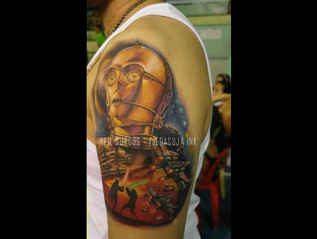 C3 Po Starwars  Robot  Jedi Patiki Ko Beh Tattoo Competion 3rd Runner Up Color Arm