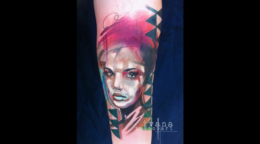 Watercolor Portrait Of Woman Color Forearm