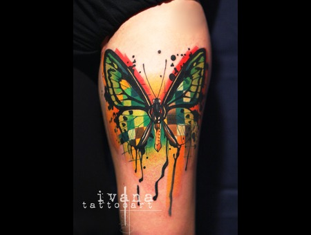 Funky Colorful Butterfly Color Thigh