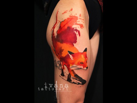 Watercolor Fox Color Thigh