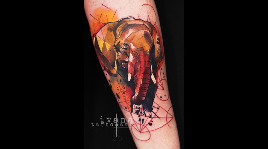 Watercolor Funky Elephant Color Forearm