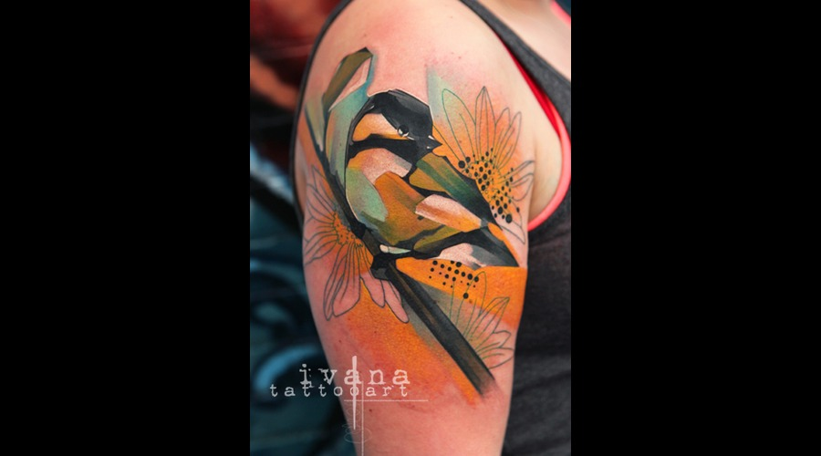 Chickadee Bird  Color Arm
