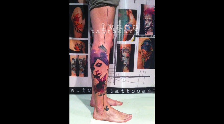 Watercolor Portrait Of Woman Color Lower Leg