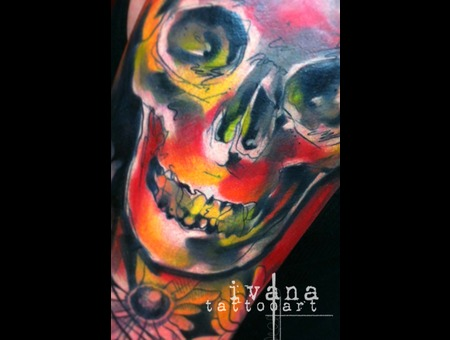 Watercolor Illustration Skull Color Arm