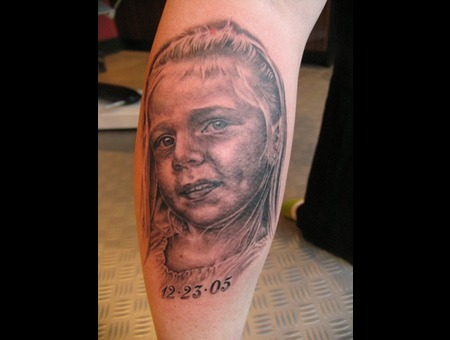 Portrait  Girl Tattoo Black Grey Lower Leg