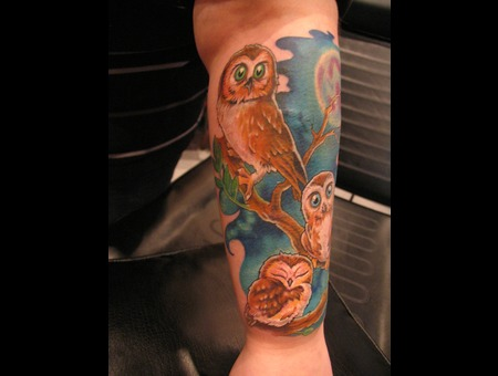 Owl  Owl Tattoo Color Forearm