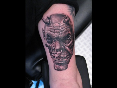 Demon Tattoo Black Grey Arm
