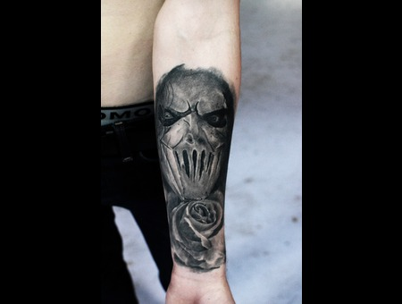 Healed  Laky  Lakytattoo  Lakytattoos  Horror  Tattoo  Black Grey Forearm
