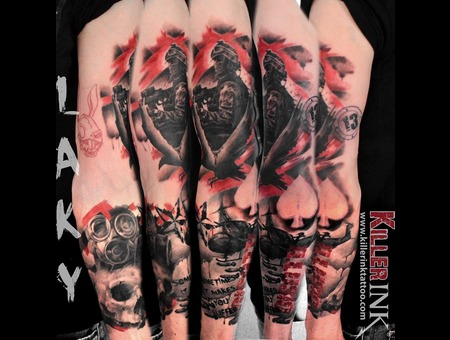 Laky  Lakytattoo  Lakytattoos  Horror  Tattoo  Realistic  Black Grey Arm