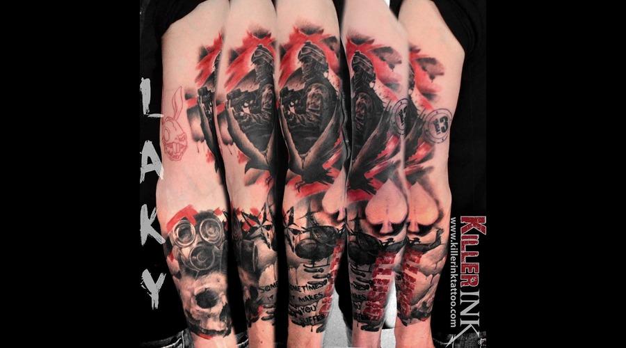 Laky  Lakytattoo  Lakytattoos  Horror  Tattoo  Realistic  Black Grey Arm