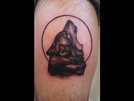 Wolf  Howl  Black & Grey  Wolf Tattoos Black Grey Lower Leg