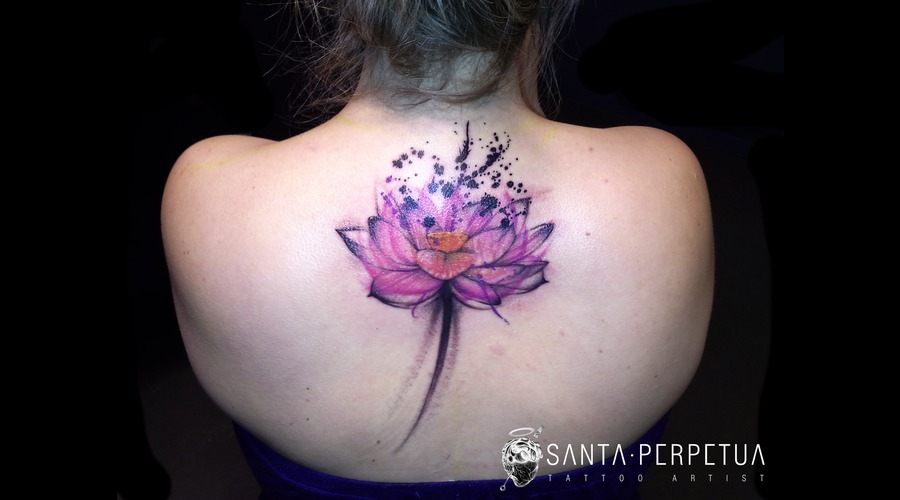 Lotus Flower Tattoo Santa Perpetua Uk Brighton Art Graphical Color Back