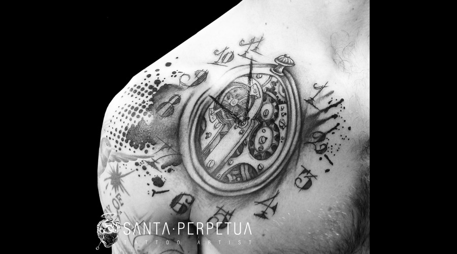 Pocket Watch Graphical Tattoo Santa Perpetua Art Uk Brighton Black Grey Shoulder