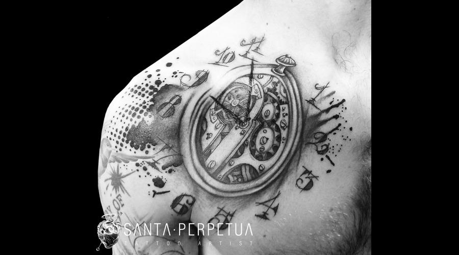 Pocket Watch Graphical Tattoo Santa Perpetua Art Uk Brighton Black Grey Shoulder