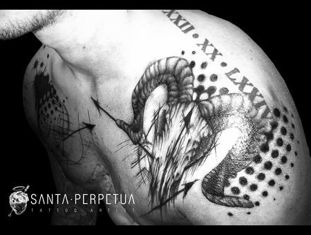 Tattoo Graphical Art Uk Santa Perpetua Ram Skull Black Grey Shoulder