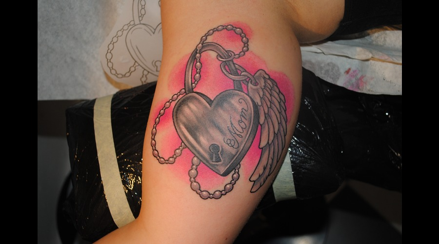 #Heart #Mom #Wing #Tattoo Color Arm