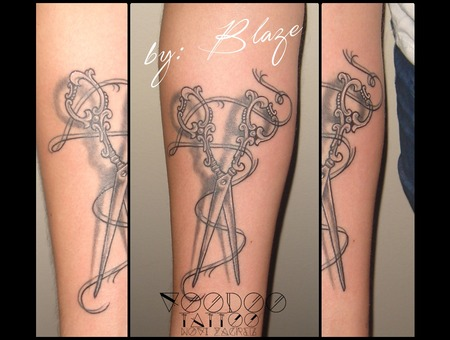 Snips Tattoo By Blaze Black Grey Arm