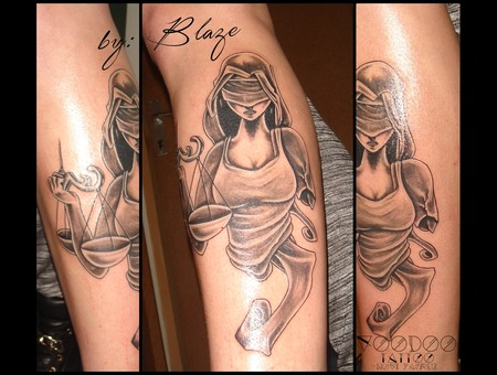 Blind Justice Tattoo By Blaze Black Grey Lower Leg