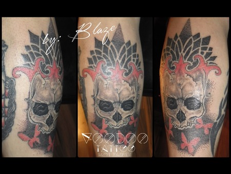 Skull With Dot Work Tattoo By Blaze Black Grey Lower Leg