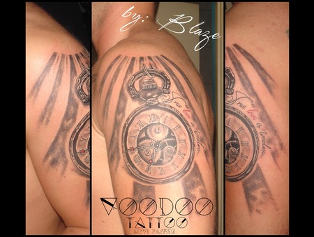 Clock Tattoo By Blaze Black Grey Shoulder