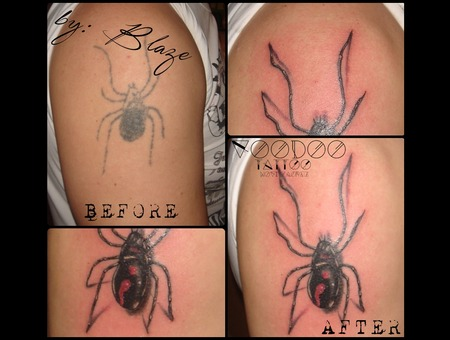 Spider Cover Up Tattoo By Blaze Color Shoulder