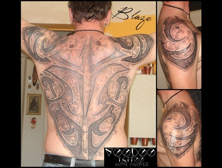Full Back Tribal Tattoo By Blaze Black Grey Back