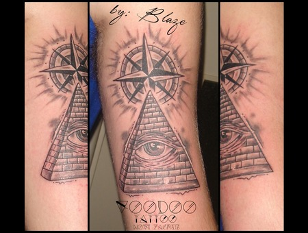 Eye Pyramide Tattoo By Blaze Black Grey Arm